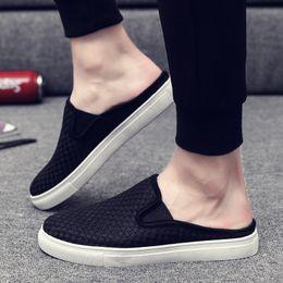 c55b1143dc67 NEW Europe Brand Classic kicks mule half slippers White black men outdoor shoes  Slippers Designer Shoes Summer Beach Flip Flops