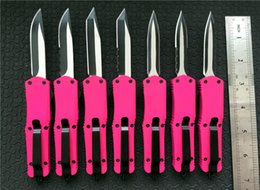 Wholesale wholesale survival knife kit - Pink Small A07 Combat troodon Double action auto knife 440 Steel blade survival kit tactical EDC Pocket knives Hand tools P57Q