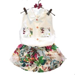 2018 nova moda verão crianças conjunto de crianças roupas de flores chiffon halter tops + arcos shorts conjuntos de roupas de meninas do bebê ternos de Fornecedores de meninas coréia meninas vestido