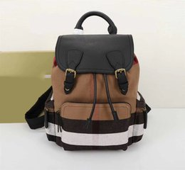 Wholesale Leather Backpack Vintage Genuine - Famous Brand Luxury Large Rucksack Bags in Vintage Check Contrasting Colour Block Trim Multi-zip Pockets MilitaryBackpack for Men Women Brow