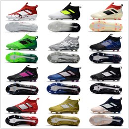 Wholesale Cheap Mens Soccer Cleats - 2018 ACE 17+ PureControl FG cheap indoor soccer shoes football boots high top mens soccer cleats Free shipping