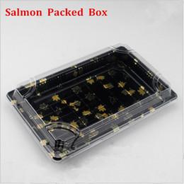 Wholesale Plastic Salmon - Upscale Sushi Boxes Disposable Lunch boxes Rectangles Sashimi salmon packing box 24.5cm*15cm 10pcs