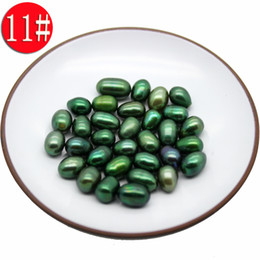 Wholesale 7mm Round Beads - 6-7mm AAA M-shaped 11# grandmother green pearl, a total of 18 colors natural freshwater pearl loose beads (free shipping by DHL 2-5 days)