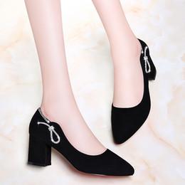Новые женские туфли на высоком каблуке с коротким каблуком Удобные классические туфли на высоком каблуке Женские черные коричневые туфли Размер 34-40 от Поставщики каблуки для обуви