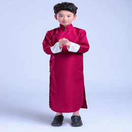 Chinese boy Crosstalk Sketch Storytelling Performance Clothing Long Cotton  Dress Robe Gown Two Side 9768fedac