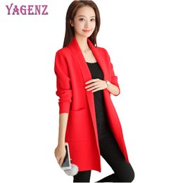 Wholesale Womens Plus Size Sweaters - YAGENZ Autumn Winter Women Knitted Sweater Cardigan High Quality Solid Color Long Section Plus size Womens Knit Sweater Cardigan