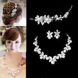 Wholesale Pearl Jade Flower Earrings - whole saleTREAZY Fashion Flower Crystal Pearl Bride 3pcs Set Necklace Earrings Tiara Bridal Wedding Jewelry Set Accessories For Women