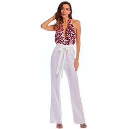 ffc3f07c2c3 New Sexy Patchwork Jumpsuit Deep V-Neck Halter Sequins Top Wide Leg  Jumpsuit Women Slim Backless Evening Party Jumpsuits Outfits LJH0440