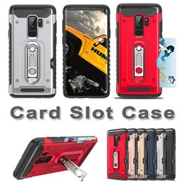 Wholesale Cover Slides - Defender Credit Slide Card Holder Case for iPhoneX Samsung Galaxy S9 S9 plus 2 in 1 Wallet Anti-knock Hybrid Brushed Metal Armor Cover