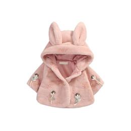 Wholesale ear fur coats - cute baby girls manto coat rabbit ears doll plush warm overcoat for 9-36M girls newborn infant Winter outerwear princess coat