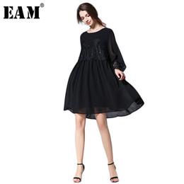12a4d908a36  EAM  2018 nouveau printemps été mode noir lâche grande taille en mousseline  de soie cloué patchwork dentelle à manches longues o-cou femme robe S111  robes ...