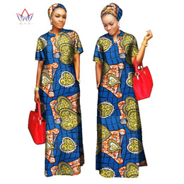 Wholesale Long Sleeve Gray Maxi Dress - 2018 african styles clothing Bohemia maxi dress Women 100% Cotton bodycon bandage Long dashiki Dress Free Head Scarf