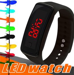 Wholesale led silicone watch band - New Fashion LED Watches Sport Digital Display Bracelet Wrist Watch Silicone Touch Screen candy band for men women Children's Students