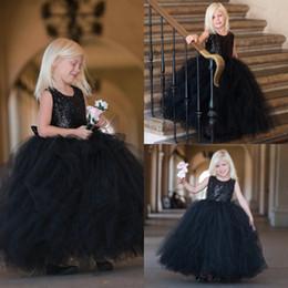 Mädchen traumkleid online-Schönes entferntes Traumball-Kleid-Blumen-Mädchen-Kleid im schwarzen Pailletten mit schwarzem Tulle-Rock Kindergeburtstags-Kindermädchen-Festzug-Kleider
