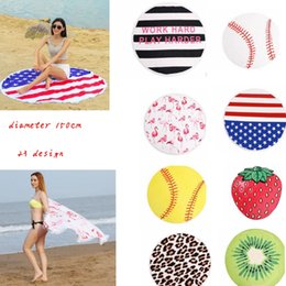 Wholesale America Covers - 150cm polyester Round Beach Towel Flamingo America Flag softball fruit Tassel Bohemia Style Beach Mat bikini cover 23design LJJK902