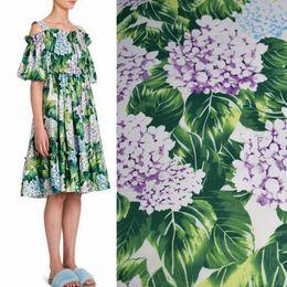 Genişliği 140 cm yeşil yapraklar ortanca boya saf pamuk kumaş elbise tissus au metre tissu için ucuz kumaşlar çin DIY telas peluş nereden yuvarlak düğün masa örtüleri tedarikçiler