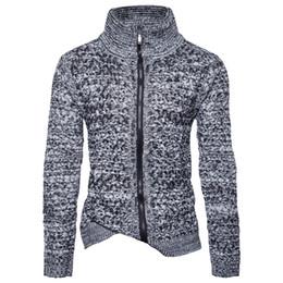2019 saltador de lã de qualidade Inverno de alta Qualidade Gola Alta Slim Fit Zipper Cardigan Blusas de Lã Quente Dos Homens Sweatercoats Malha Cardigan De Tric Homem Jumper saltador de lã de qualidade barato