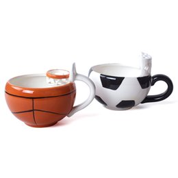 Wholesale Porcelain Child - Mug The Latest Creative Cartoon Cute Children Basketball Ceramic Milk Drinks Breakfast Mugs White Football Coffee Cup 12ys V