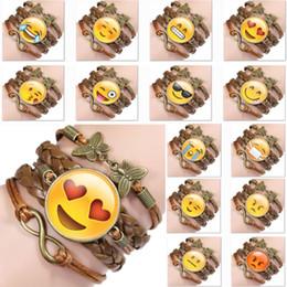 2019 armbänder edelsteine Charme Emoji Ausdruck Armband Retro Zeit Gem Lederband Armband Schmuck Kette Für Kinder Erwachsene Parteibevorzugung Weihnachtsgeschenke WX9-1044 günstig armbänder edelsteine