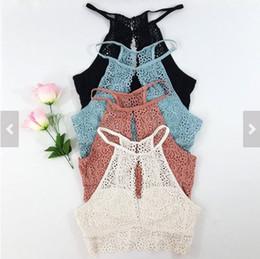 Colheita top vest sutiã on-line-Camisola de alças das mulheres Sexy verão Bustier Bra Lace colete Top colheita Blusa Top Bralette