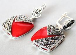 encantos de coral rojo Rebajas Pendientes de plata 925 de encanto de gancho rojo de plata de la señora encanto de la señora 1