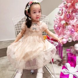 Wholesale Elegant Baby Bows - New Summer Baby Girls Party Dress Evening Wear Long Tail Girls Clothes Elegant Flower Girl Dress Kids Baby Dresses