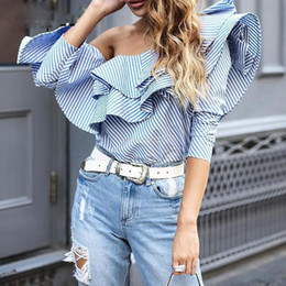 Wholesale women one shoulder top blouse - blouse shirt women tops Woman shirt One shoulder ruffles 2018 autumn Casual blue striped shirt Long sleeve cool blouse winter