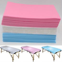 massaggio salone Sconti 80 * 180 cm monouso medico non tessuto bellezza salone di massaggio spa hotel letto dedicato pastiglie copertina fogli 3 colori AAA628