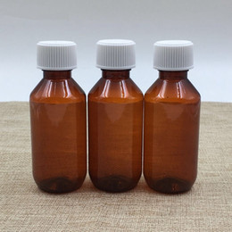 Wholesale gasket oil - 100ml Palm Red Plastic Empty Bottle medicine bottles cover gasket Syrup Essential oil jars fast shipping F726