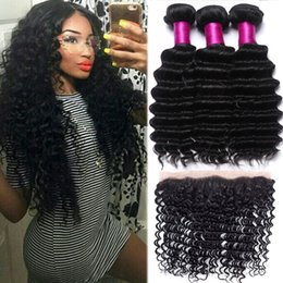 Wholesale Closures Brazilian Wavy Hair - Brazilian Hair Body Wave Deep Wave Loose Straight Yaki Wet And Wavy 13x4 Full Frontal Lace Closure With Mongolian Deep Wave Human Hair