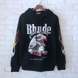 Canada 2018 Meilleur Qualité Rhude Eagle Imprimé Femmes Hommes Hoodies Sweats Hiphop Streetwear Hommes Épais Capuche Pull Polaire cheap eagles sweatshirt Offre