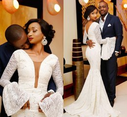 vintage fishtail wedding dresses Promo Codes - Sexy Plunging Neckline Mermaid Wedding Dresses with Long bell Sleeves 2018 Zipper Back Vintage african nigerian fishtail Wedding Gowns