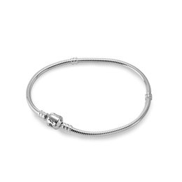 Wholesale 3mm Silver Chain European - 100% Real 925 Sterling Silver Bracelets 3mm Snake Chain Fit Pandora Charm Bead Bangle Bracelet DIY Jewelry Gift For Men Women with box