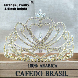 Wholesale Heart Pageant Crowns Tiaras - 3.4inch pageant Wedding Bridal Tiara Crowns Queen gold heart Tiara crown Headband for party  masquerady event carnival