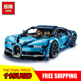 Wholesale gift toys - Lepin 20086 4031Pcs Technic Series Blue Super Racing Car Bugatti Chiron Building Blocks Bricks Kids Toys Car Model Gifts Legoing 42083