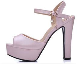Sandalias azules de las mujeres nuevas zapatos online-2017 verano nuevas sandalias femeninas de tacón alto plataforma pescado cabeza azul blanco rosa moda zapatos de mujer