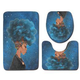 3 pcs tapis de bain ensembles antidérapant motif bleu femme africaine coiffure salle de bain tapis de sol et tapis de toilette ensembles ? partir de fabricateur
