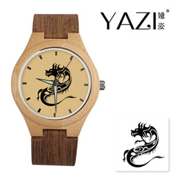 2a6f0b6e2715 2019 correa de reloj de madera YAZI Reloj de madera único Dragón Lucky Logo  Reloj de