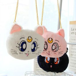 1 unid 25 cm Cartoon Sailor Moon Plush Luna Cat Messenger Bag Lindo bolso de hombro suave bolsa de felpa Girl Girl regalo de cumpleaños desde fabricantes