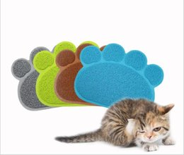 Wholesale Plastic Table Mats - Footprint Foot Sleeping Pad Placemat Cat Litter Mat Dog Puppy Cleaning Feeding Dish Bowl Table Mats PVC Paw Shape Style 30*40cm