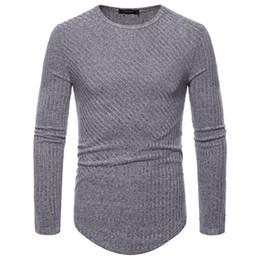 Rippstrick-t-shirt online-2018 neue Männer Long Sleeve Knit Shirt Longline Kurve Saum Hip Hop T-Shirt O-Ansatz Slim Fit gestreifte Rippe lustiges T-Shirt Mens Casual Streetwear