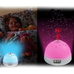 Wholesale Projection Lights For Kids - Starry Alarm Projection Clock Star Sky Calendar Night Light Projector Clock Night Light Lamp for Kids