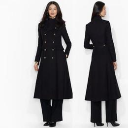 Esmoquin de cachemira online-Maxivestido de esmoquin de lana negro Vestido elegante de esmoquin Vestido de traje largo de lana Vestido largo de diseñador Manteau femme Abrigo de cachemira de lana