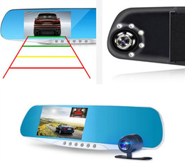 "Wholesale rearview mirror dvr dual camera - 2Ch 1080P full HD 4.3"" dual lens car DVR auto digital dashcam mirror recorder 170 degrees night vision G-sensor parking monitor"