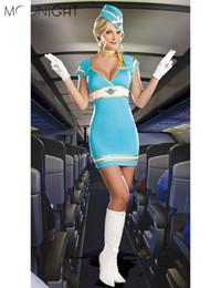 robe stewardess Promotion MOONIGHT Femmes Sexy Hôtesse de l'air Uniformes Dames Hôtesse de l'air Agent de bord Halloween Costumes Party Cosplay Déguisements Costume