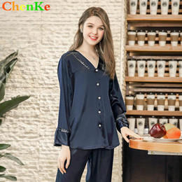 3d3b2c5fc0 ChenKe Summer Pajamas Sets Women Sleepwear Set Women s Deep V-neck Sexy  Long Sleeve Top Hollow And Trousers Elegant Homewear women summer pajamas  sets on ...