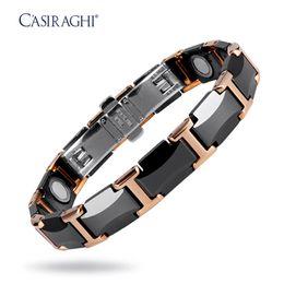 Wholesale Ceramic Magnetic Bracelets Black - New Style CASIRAGHI 22CM Black Rose Gold Ceramic and tungsten steel Energy Health Magnetic Function Bracelet