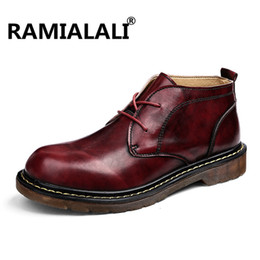 Wholesale Motorcycle Shoes For Men - Genuine Leather Ankle Male Boots Autumn Winter Mens Motorcycle Boots Men Shoes Snow Vintage Casual Shoes Botas For Male