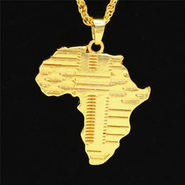 africa mappa pendente d'oro Sconti collana uomo Collana di gioielli hip hop Africa con catene ghiacciate placcato oro ciondolo collana in acciaio inox gioielli 2018 nuovo commercio all'ingrosso