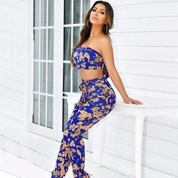 4f67a356965 Summer 2 Piece Tracksuit Women Print Sleeveless Strapless Blue Print Top  And Party Club Slim Pant Casual Plus Size Outfit